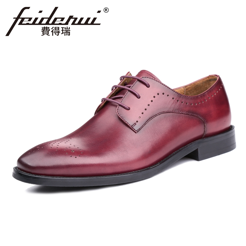 Luxury Brand Genuine Leather Men's Breathable Oxfords Round Toe Lace-up Man Party Flats Formal Dress Handmade Brogue Shoes KUD59 цена и фото