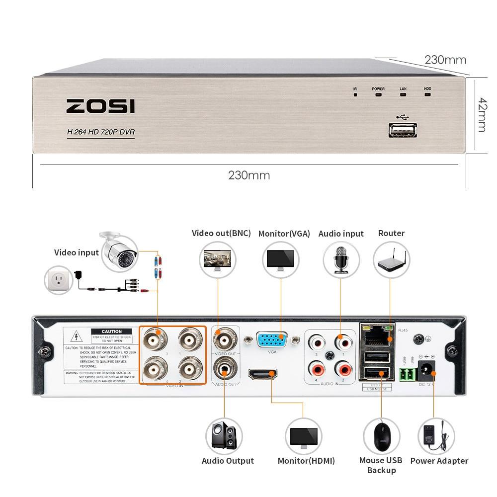 ZOSI 4CH / 8CH DVR CCTV სისტემა 2CH 2PCS 1.0 MP IR - უსაფრთხოება და დაცვა - ფოტო 5
