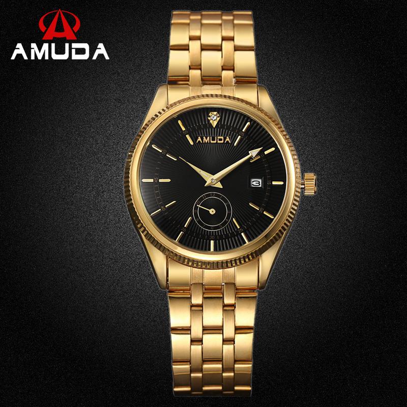 Prix pour Mâle Montre De Luxe Célèbre Marque Hommes D'or Horloge En Acier Inoxydable Des Hommes D'affaires de Montres Strass Noir Visage Quartz Montre-Bracelet