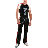 Латекс резиновая спортивный костюм латекс длинные Брюки для девочек с Рубашка с короткими рукавами Рубашки для мальчиков