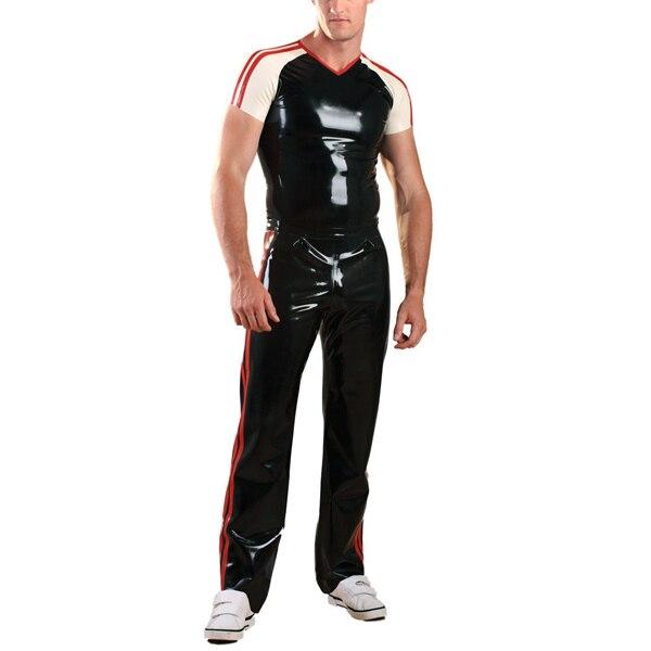 Латексный резиновый спортивный костюм латексные длинные штаны с короткими рукавами рубашки