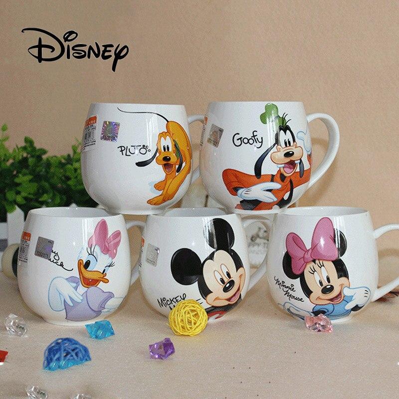 Hot Disney Children 400ML Meter Mouse Ceramic Cup Cartoon Pattern Donald Duck Goofy Pluto Lady Men's Cup Office Coffee Milk Cups