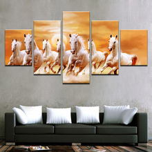5 piece canvas painting oil wall art horse gallop for home decor print poster modular panel frameworks