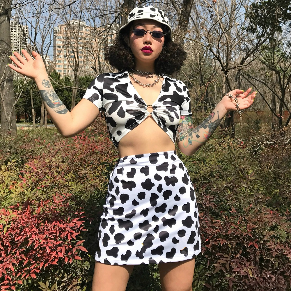 HTB1VQM1NkPoK1RjSZKbq6x1IXXas - Dairy Cow Print Sexy Two Piece Set 2 Piece Set Women Two Piece Outfits Crop Top And Skirt Set Streetwear Bodycon Matching Sets