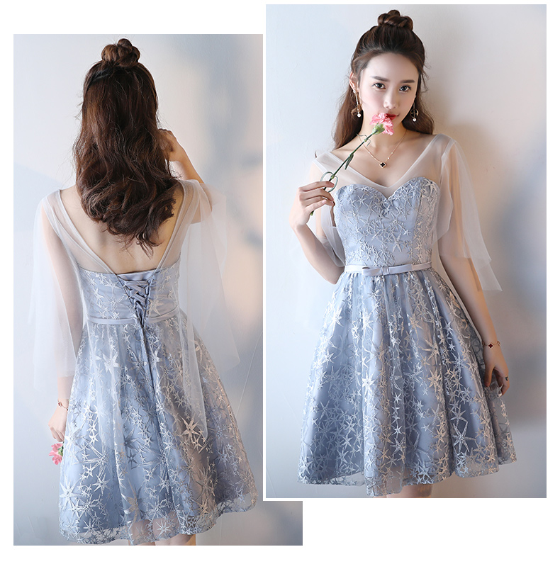 New Silver Grey Cocktail Dress Stars Embroidery Lace Cute Bride ...
