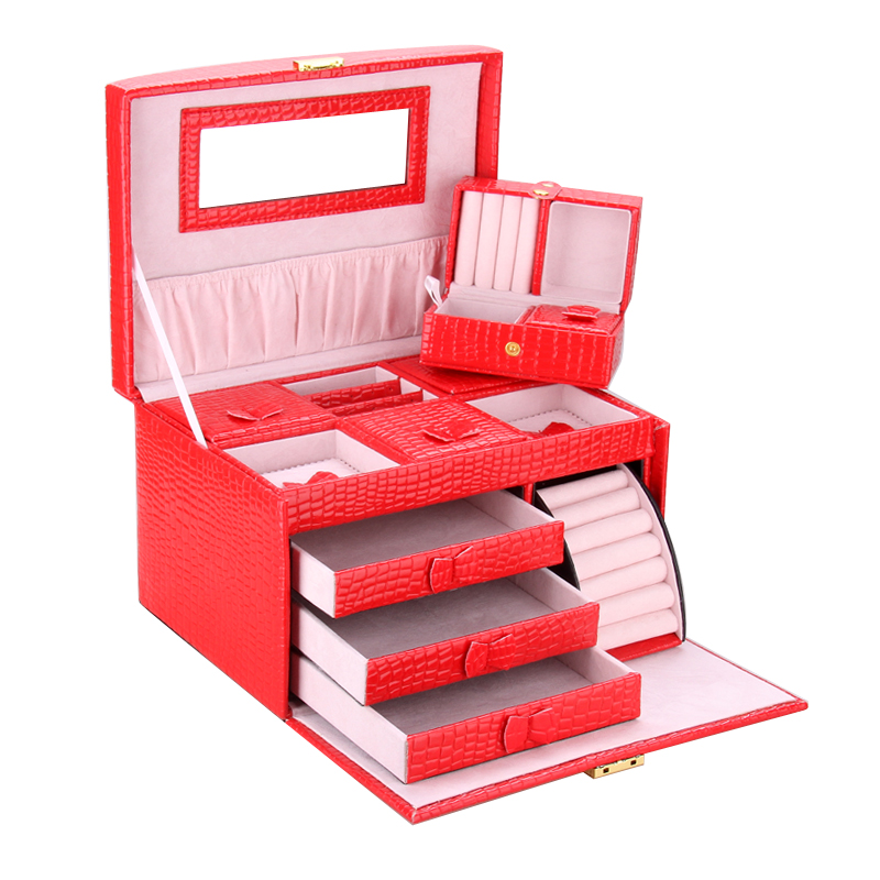 все цены на Large Red Jewellery Storage Boxes Wedding Gifts Earrings Necklaces Display Snake Organizer Velvet Mirrored Case With Travel Case