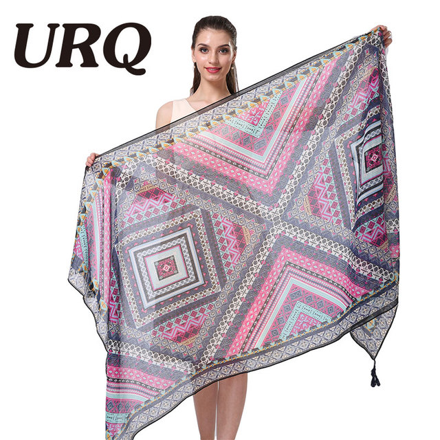 wholesale art bohemia geometric floral tassel scarf muslim scarves hijab fashion brand design foulard fashion geometic