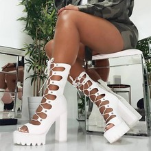 2019 New Women Boots Fashion High Heel Shoes Lace-up Summer Cross-tied Cool Boot Square Quality Platform Female