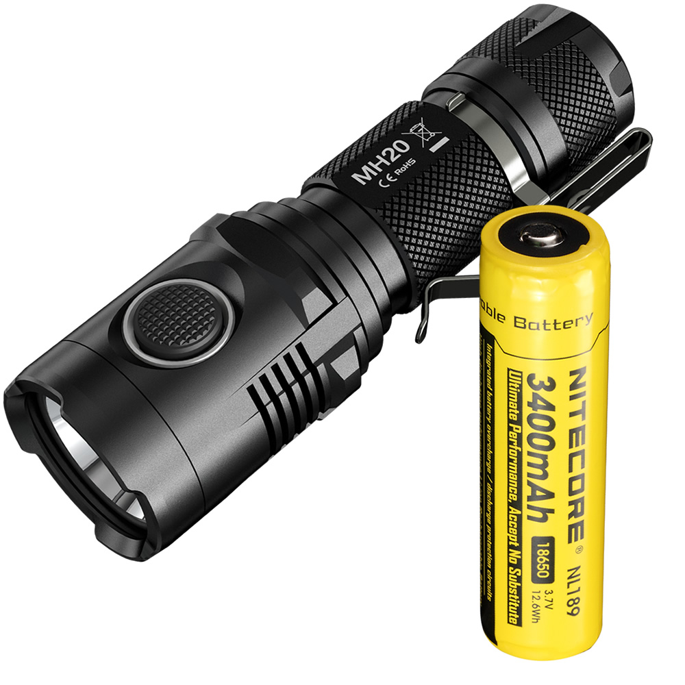 TOP Free shipping NITECORE MH20 With 3400mAh battery 1000LM CREE XM-L2 U2 LED Rechargeable MINI Flashlight Waterproof Led Torch