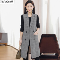 New 2018 spring fashion double breasted turn down collar plaid vest women slim fit long veste femme chaquetas invierno mujer MJ4