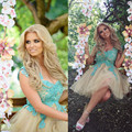 Elegant 2016 New Summer Sexy Mini Short Champagne Blue Lace Tulle Women Special occasion Cocktail Party Dress robe de cocktail