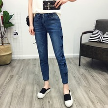 HDP048 женская мода Двойной боковой панели нерегулярные лестница флэш джинсовые брюки девять micro ракетницы джинсы вышивка/2 цвет/6 размер