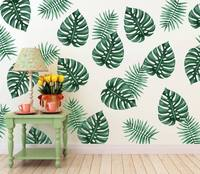 Palm Leaves Wall Stickers Vinyl DIY Removable Tropical Leaves for Living Room Kitchen Decoration Wall Decals