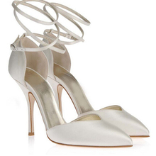 Frauen Benutzerdefinierte Handmade Elegante Elfenbein Satin High Heels Brautschuhe Abendgesellschaft Schuhe Gezeigte Zehe Ankle Straps Schuhe