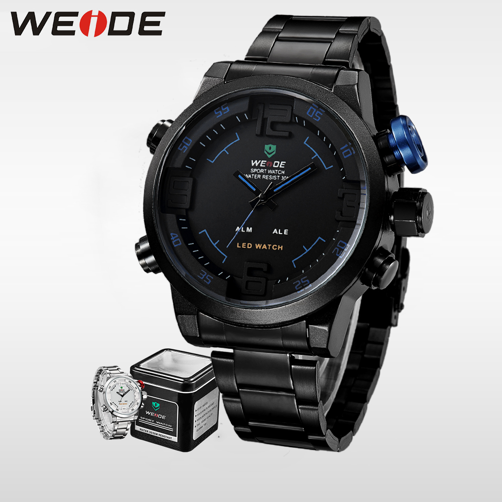 WEIDE New 2017 Analog Watch Digital LED Display Clock Alarm Men Sports Quartz Wrist Military Mens Watches Top Brand Luxury saat 2018 new luxury brand weide men watches men s quartz hour clock analog digital led watch pu strap fashion man sports wrist watch
