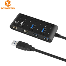 Zoweetek NH02 External USB Hub High Speed 4 3.0 + 3 2.0 Ports Potable OTG Splitter with Switch for Mac OS Windows PC