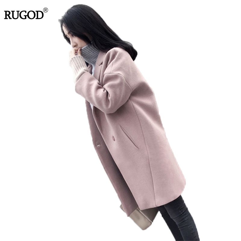 RUGOD 2017 /6 Autumn Winter All-purpose Woolen Coat Thick Section Single-breasted Winter Jacket Women Cardigan Black Gray Deep