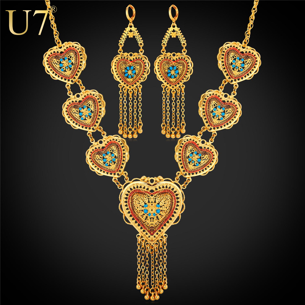 U7 Gold Color Jewelry Set Wedding Accessories Indian Trendy Love Heart  Tassels Long Earrings Necklace Set For Women S789