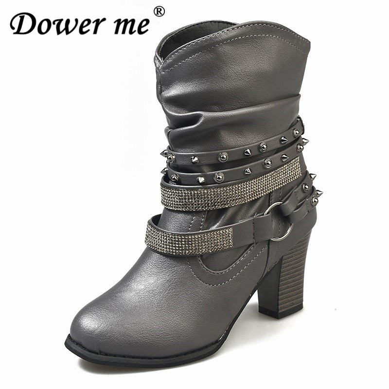 Rivet Rhinestone Cowboy boots Autumn winter fashion Women s Boots shoes  Coarse heel High-heeled female Round head Short boots bebb20ed0367