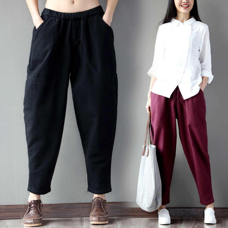 1392ce52274 Women s Linen Harem Pants Loose Ethnic Female Trousers Ankle Length Elastic  Waist Large Size Femme Baggy