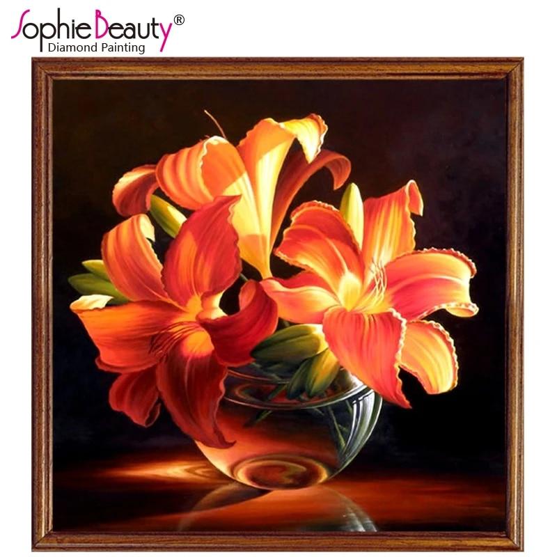 Diamond Painting Handmade Image Lily Orange