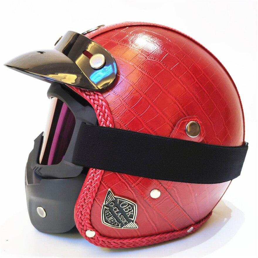 Women red PU Leather Motorcycle Harley Helmet 3 4 vintage Motorcycle helmet open face half helmet