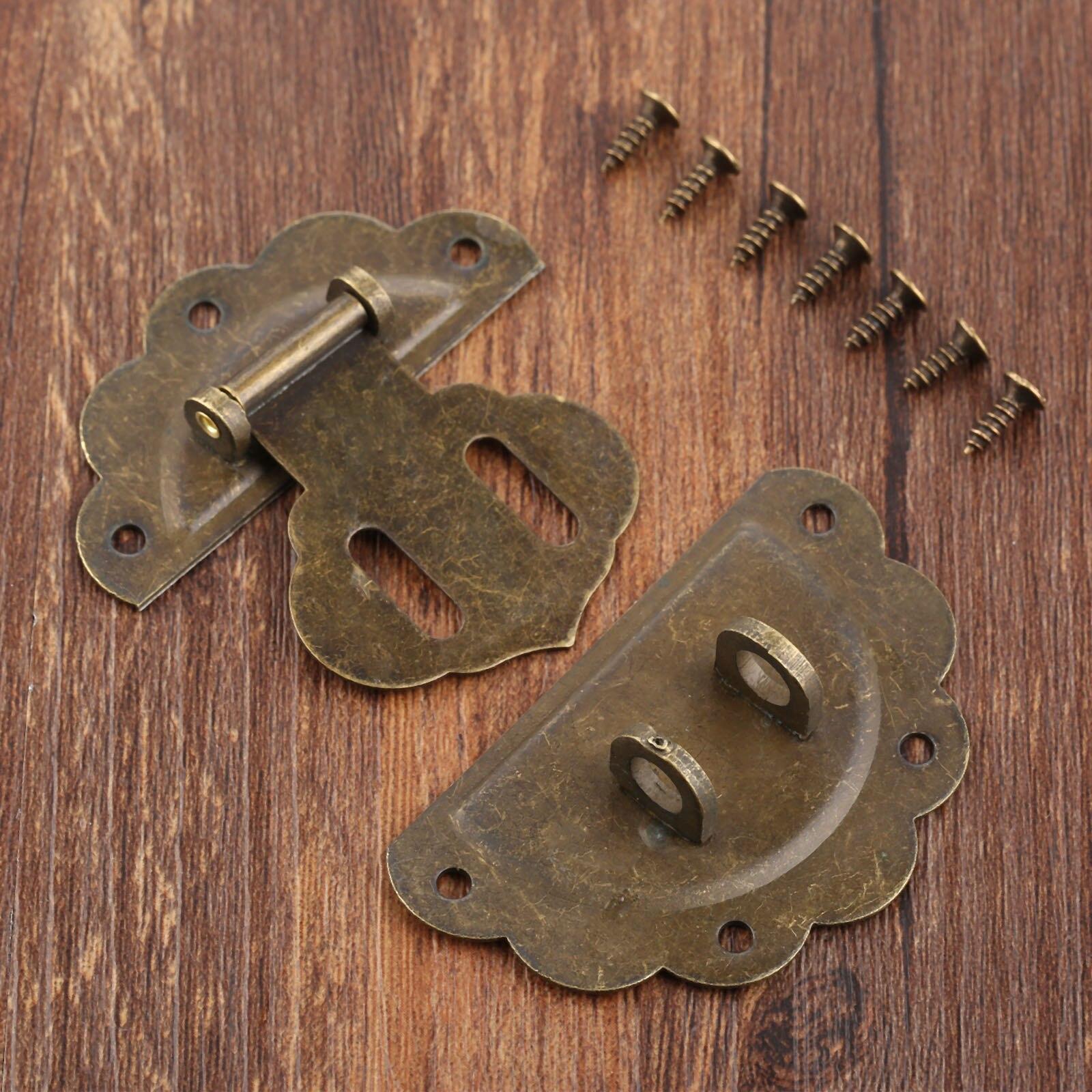 54*58mm Furniture Wooden Case Hasp Latch Vintage Jewelry Box Locking Buckle 1Pc