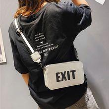 EXIT Print Adjustable Straps Handbags Portable Female Crossbody Bags Women Leather Flap Shoulder Travel