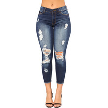DOMBBFY 2019 New women Skinny Jeans Pancil Pants Women High Waist Slim Hole Ripped Denim Casual Stretch  Trousers