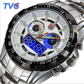 New Design Watch Brand TVG Men Military Sport Multifunction Led Watch Steel Band Dual Time Watches