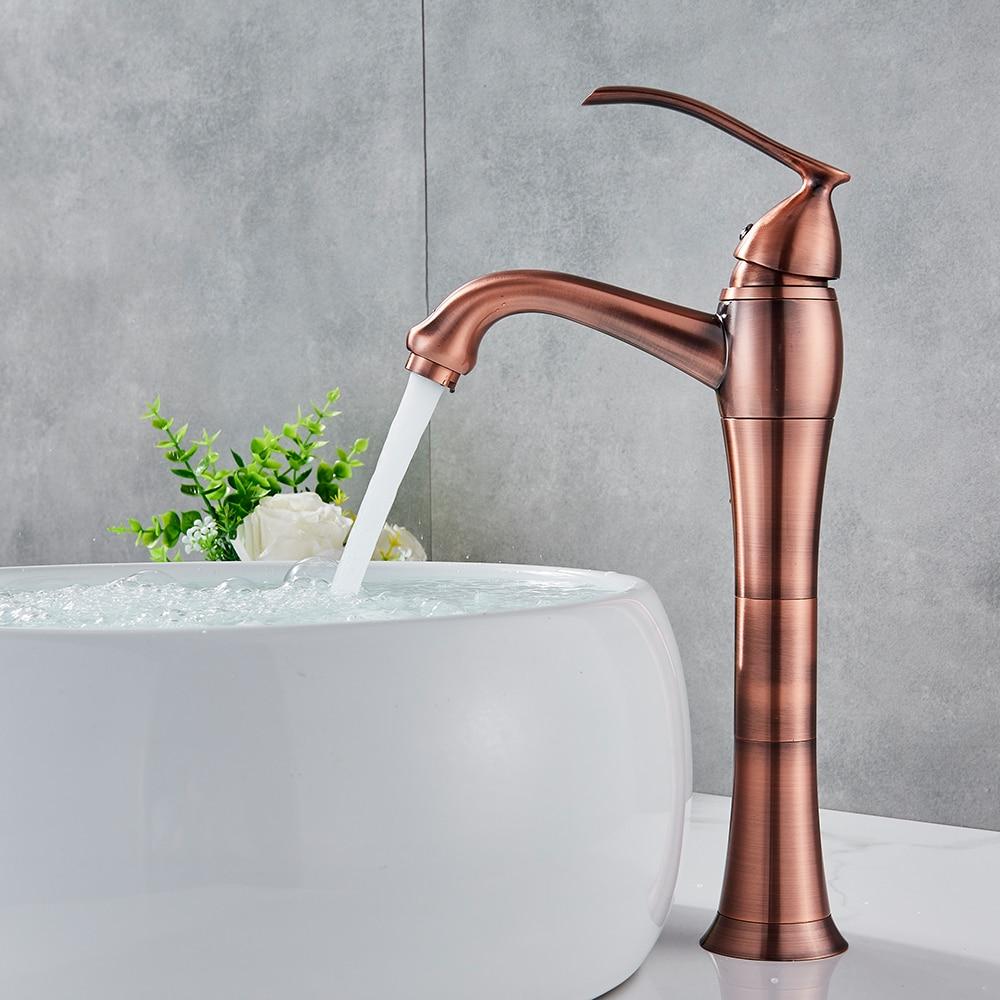 Antique Copper Bathroom Kitchen Basin Sink Faucet Mixer Tap Single Handle Single Hole Solid Brass Deck