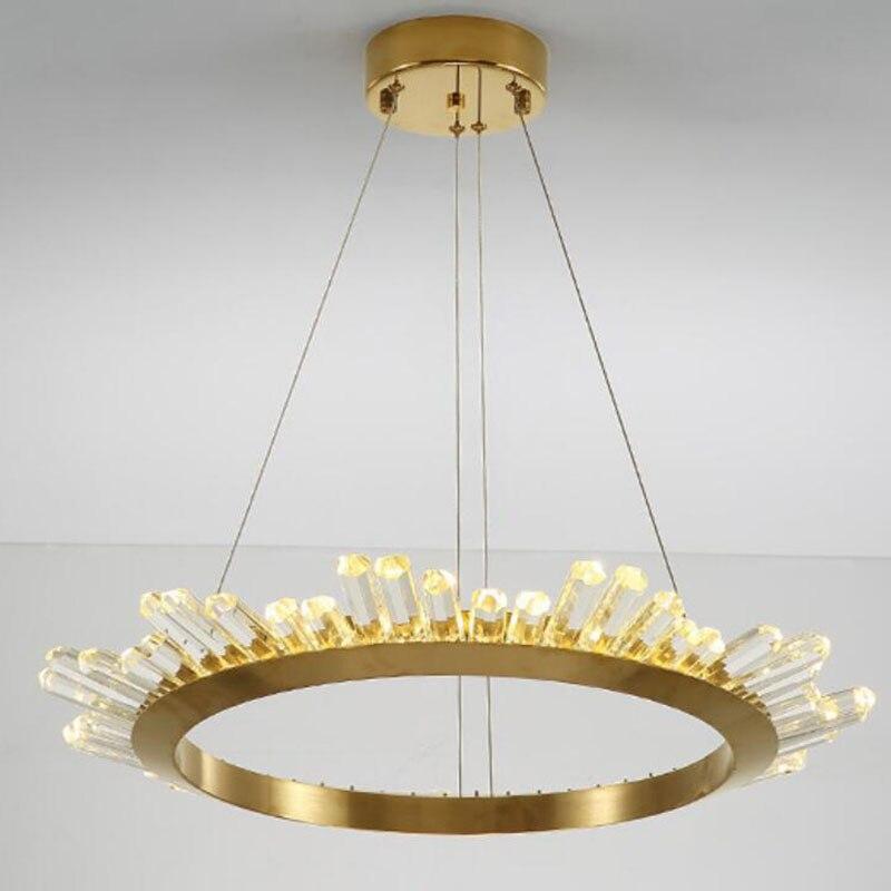 Nordic golden luxury crystal chandelier post modern high-end living room crystal chandelier restaurant lamps