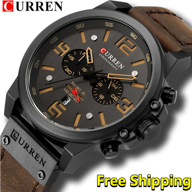 Curren Mens Watches Top Brand Luxury 2019 Waterproof Sport Mens Wrist Watches Chronograph Army Military Leather Men Watch 2018