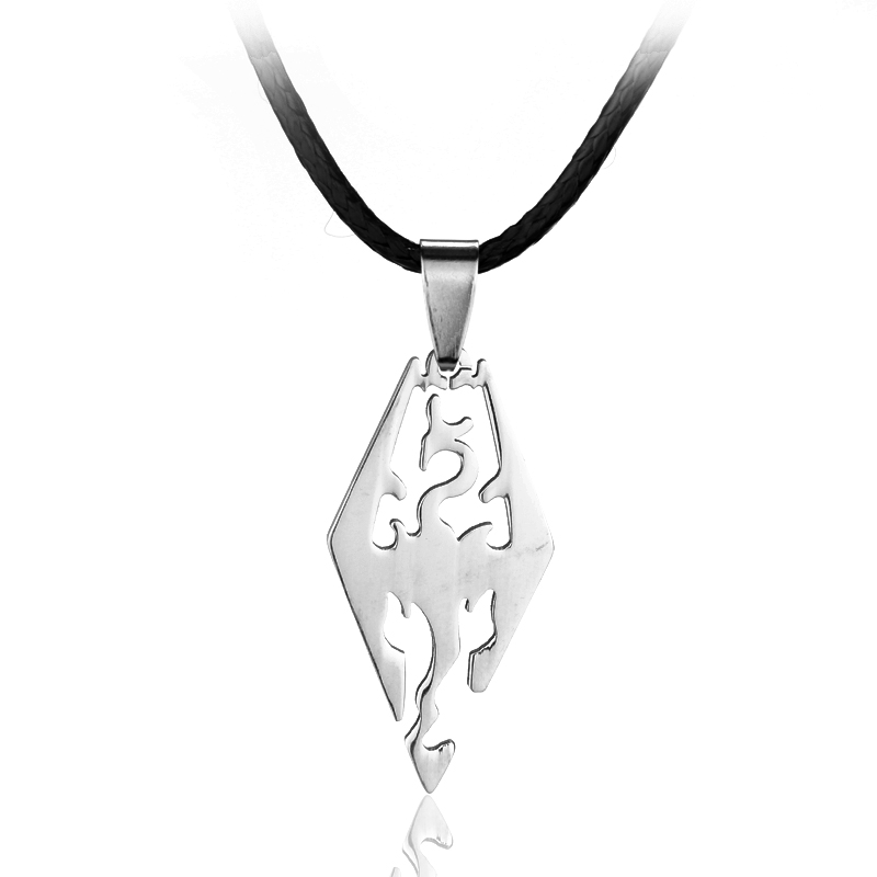 dongsheng Fashion Game Jewelry The Elder Scrolls Skyrim Dragon Stainless Steel Pendant Necklace Rope Chain Charm Necklaces image