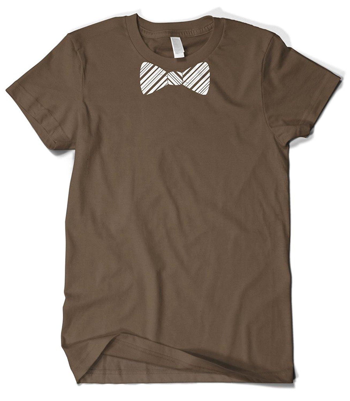 Gildan Mens White Striped Bow Tie T-Shirt