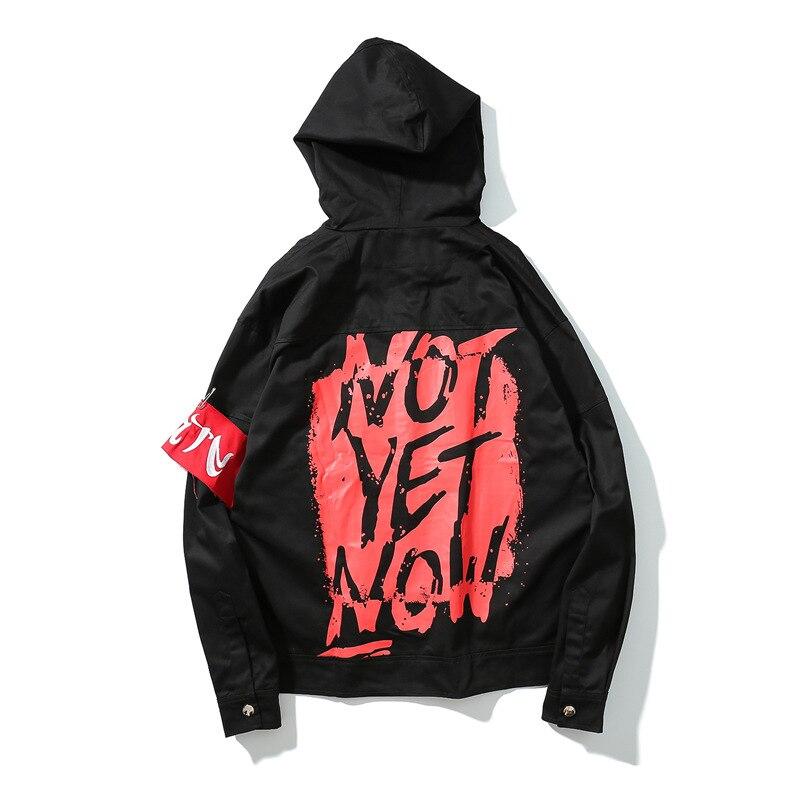 Hip hop rouge brassard graffiti lettre imprimer veste hommes et femmes haute rue denim veste mâle