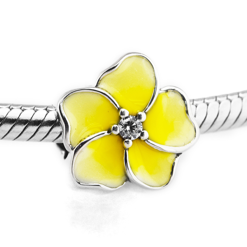 Fits for Pandora Charms Bracelets Orchid Beads with Clear CZ & Yellow Enamel 100% 925 Sterling Silver Jewelry Free Shipping