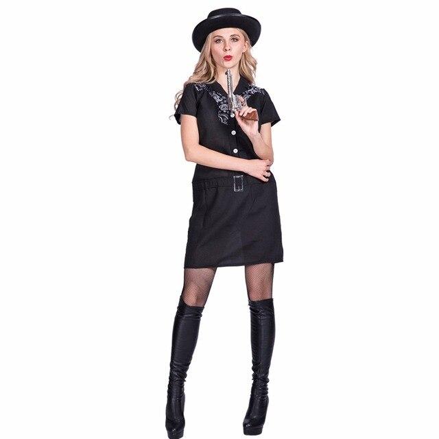 Sexy Black Mafia Gun Woman Cowgirl Ladies Cosplay Adult Costume ...
