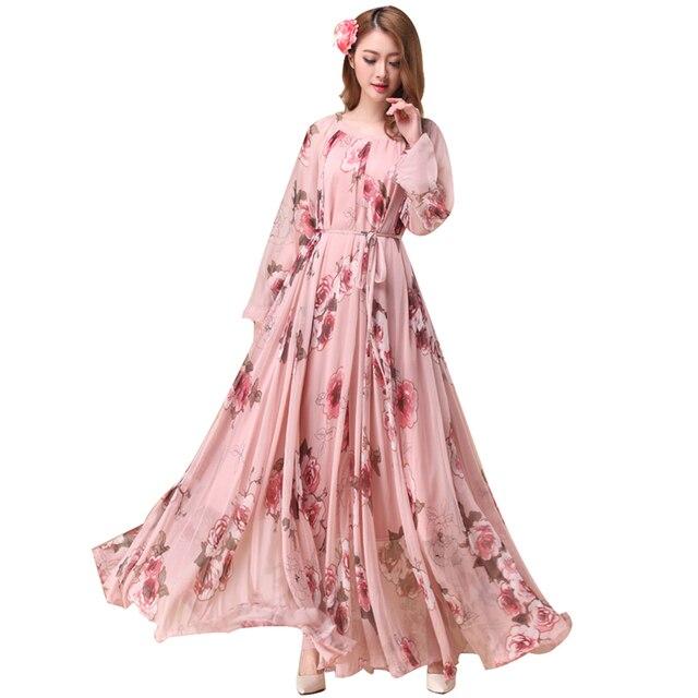 040a6909c الأزهار طباعة الشيفون فستان طويل المرأة الشيفون خفيفة الوزن ماكسي فساتين  vestidos عطلة الشاطئ فستان صيفي