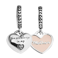 Fits Pandora bracelet Mother's Day Mother and daughter with heart charm 925 sterling silver jewelry With Cz & enamel DIY making