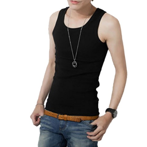 HEFLASHOR 2019 Summer New Male Cotton Tank Tops Mens Solid Tee Tops Bodybuilding Undershirt Fitness Solid Workout Tank Tops Tees Pakistan