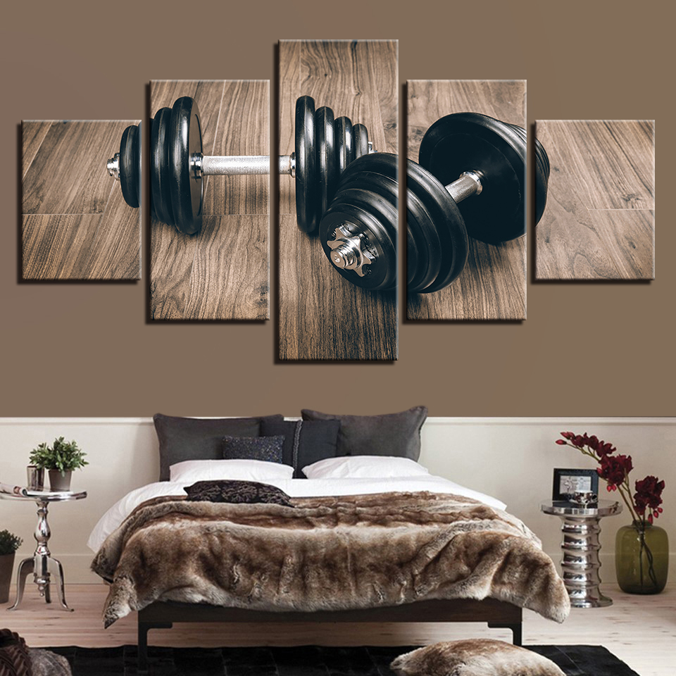 Wall Art Framework Canvas Living Room 5 Panel Sports Equipment Dumbbell Pictures Home Decoration Modern HD Printed Paintings