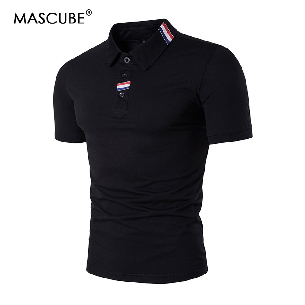 MASCUBE 2019 Fashion Brand Clothing   Polo   Homme Solid Wholesale   Polo   Shirt Casual Men Tee Shirt Tops Cotton Slim Fit   Polo   Shirt