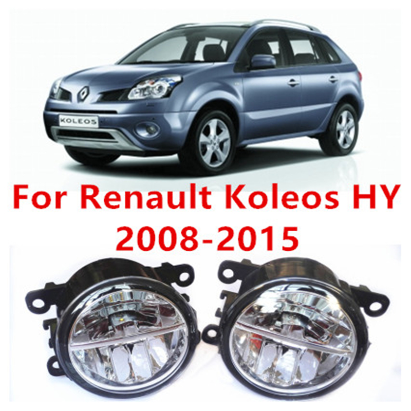 ФОТО For Renault Koleos HY Closed Off-Road Vehicle  2008-2015 10W Fog Light LED DRL Daytime Running Lights Car Styling lamps