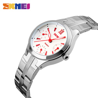 SKMEI Fashion Dress Quartz Watches Women Silver Stainless Steel Strap Complete Calendar Red Index Dial Ladies