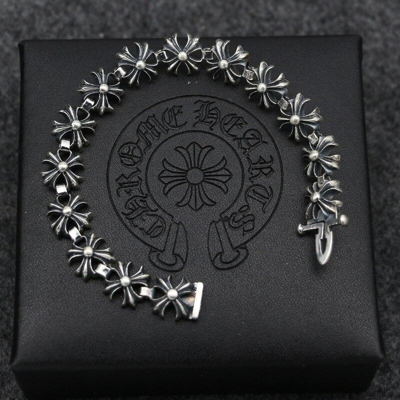 S925 браслет из стерлингового серебра модные популярные аксессуары новый крест вокруг панк стиль 2019 горячая распродажа - 6