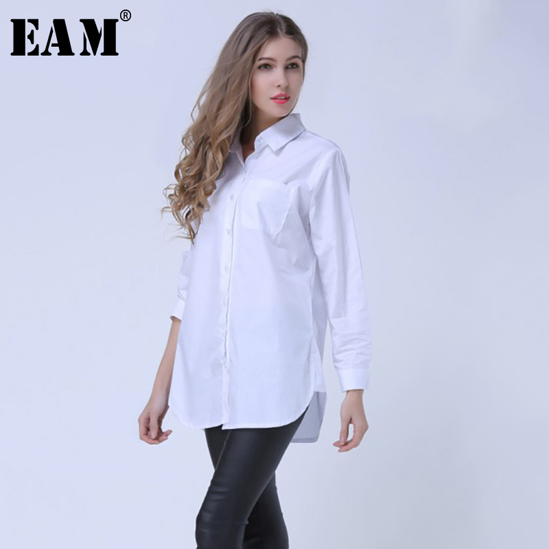 [EAM] 2019 Frühling Revers Mode Neue Langen Ärmeln Solid Color Blau Gestreiften Lange Absatz Lose Frauen Shirt Flut g01605