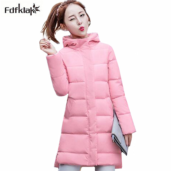 Fdfklak Woman Parka Coat Female Cotton-padded Winter Jacket Women Hooded Thick Long Jackets for Women manteau femme hiver b048 2016 new fashion x long hooded winter jacket women thick warm cotton padded parkas down jackets women coat manteau femme hiver