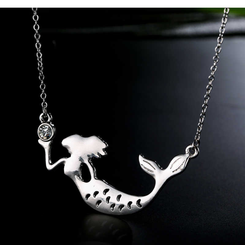ENSOUL Long Sliver Pendant Necklace Mermaid Shape Womens Necklaces Jewelry Romantic And Fairy