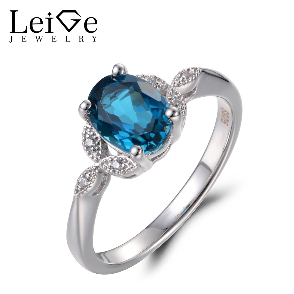 Leige Jewelry Real London Blue Topaz Rings Unique Engagement Rings Oval Cut Gemstone 925 Sterling Silver November Birthstone